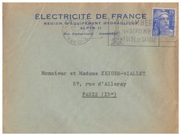 1951 - Lettre à Entête - Chambéry (Savoie) - EDF équipement Hydrolique Rue Pierre Curie - FRANCO DE PORT - Francia