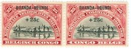 RUANDA URUNDI, COLONIA DEL BELGIO, 1925, 25c+25c, NUOVO (MNH**) Mi:RW-U 21, Scott:RW-U B1, Yt:RW-U 77 - 1924-44: Nuevos