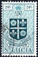 SANTA LUCIA, ST. LUCIA, STEMMI, COAT OF ARMS, 1949, 24 C., FRANCOBOLLO USATO  (0,50) Mi:LC 129, Scott:LC 144, Sg:LC 155 - St.Lucia (1979-...)