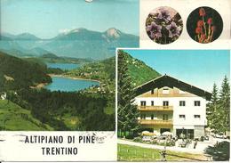 """Altipiano Di Pinè (Trento) Vedute: Lago Delle Piazze E Della  Serraia, Cima Palon Nel Fondo, Albergo Bar """"Pineta"""" - Trento"""
