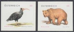 Austria 2006 - Definitive Stamps: Animals: Northern Bald Ibis (bird), Brown Bear - Self-adhesive Stamps Mi 2622-2623 ** - 2001-10 Nuevos & Fijasellos