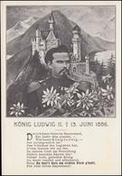AK König Ludwig II. Mit Gedicht Vor Schloss Neunschwanstein, Ungebraucht - Persönlichkeiten