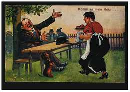 Karikatur-AK Die Bestellte Haxe Mit Bier Kommt: Komm An Mein Herz, Ungebraucht - Humor