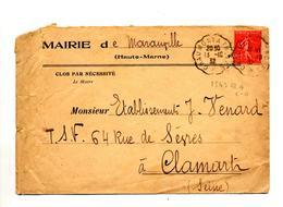 Lettre Cachet Convoyeur Chaumont à Troyes Entete Mairie Maranxille - Marcophilie (Lettres)