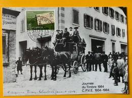 9930 -  Journée Du Timbre Vevey 1984 Sur Carte Transportée Par Diligence De Vevey à Chexbres - Schweiz