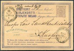1877 Finland Stationery Postcard Jernsvagens Railway TPO (2 Different Trains) - 1856-1917 Amministrazione Russa