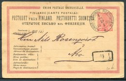 1888 Finland Stationery Postcard, Karis & Fiskars, Hango - Hyvinge To Abo Railway TPO - 1856-1917 Amministrazione Russa