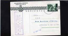 CG6 - Croazia  - Cartolina Postale - Zagabria 11/11/1942 Per Rep. Di San Marino - Croatia