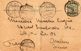 """EGYPTE : CP . ENTIER POSTAL . DE """" ZARQUN """" . DIVERS TRANSITS . POUR LA FRANCE . 1916 . - 1915-1921 Brits Protectoraat"""