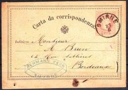 LEVANT AUTRICHIEN , Superbe Obl SMIRNE Turquie Sur Entier 1881 , Lettre Smyrne - Eastern Austria