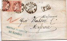 SUISSE : 2 EX . N° 38 . DE GENÈVE . POUR LA SICILE . 1863 . ( LST ) . - 1862-1881 Helvetia Seduta (dentellati)