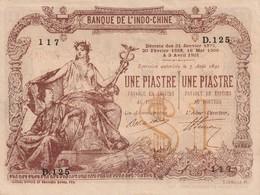 Billet De 1 Piastre De La Banque De L'indochine Faux Neuf - Indochine