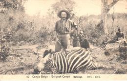 Belgian Congo - Stationery - Hunting - Hunter - Zebra - Katanga - Unclassified