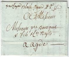 Mention PAR CAPITAINE Blaise ISNARD Que Dieu Conduise Lettre De CANNES 1792 Alpes Maritimes - 1701-1800: Vorläufer XVIII