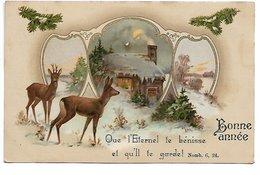 """L170A440 - Bonne Année - Biche Et Cerf Devant Tryptique De Paysages """"Que L'Eternel Te Bénisse...""""  - GOM Série 1710 - Nouvel An"""