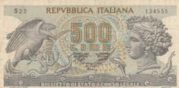 BIGLIETTO DI STATO  ITALIA 500 LIRE -  VF (BN33 - [ 2] 1946-… : Repubblica