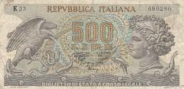 BIGLIETTO DI STATO  ITALIA 500 LIRE -  VF (BN34 - [ 2] 1946-… : Repubblica