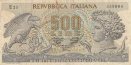 BIGLIETTO DI STATO  ITALIA 500 LIRE -  VF (BN35 - [ 2] 1946-… : Repubblica