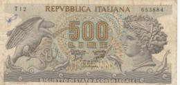 BIGLIETTO DI STATO  ITALIA 500 LIRE -  VF (BN36 - [ 2] 1946-… : Repubblica