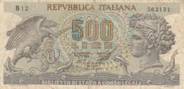 BIGLIETTO DI STATO  ITALIA 500 LIRE -  VF (BN38 - [ 2] 1946-… : Repubblica