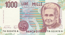 BANCONOTA  ITALIA 1000 LIRE MONTESSORI -  UNC (BN51 - [ 2] 1946-… : République