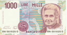 BANCONOTA  ITALIA 1000 LIRE MONTESSORI -  UNC (BN54 - [ 2] 1946-… : République