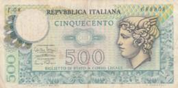 BIGLIETTO DI STATO  ITALIA 500 LIRE -  VF (BN55 - [ 2] 1946-… : Repubblica