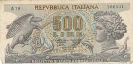 BIGLIETTO DI STATO  ITALIA 500 LIRE -  VF (BN64 - [ 2] 1946-… : Repubblica