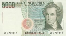 BANCONOTA  ITALIA 5000 LIRE BELLINI -  AUNC (BN77 - [ 2] 1946-… : Repubblica