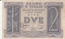 BIGLIETTO DI STATO  ITALIA 2 LIRE -  VF (BN89 - [ 1] …-1946 : Royaume