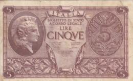 BIGLIETTO DI STATO  ITALIA 5 LIRE - VF (BN91 - Italia – 5 Lire