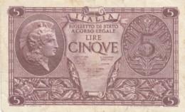 BIGLIETTO DI STATO  ITALIA 5 LIRE - VF (BN94 - [ 1] …-1946 : Royaume