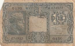 BIGLIETTO DI STATO  ITALIA 10 LIRE -  F (BN99 - Italia – 10 Lire