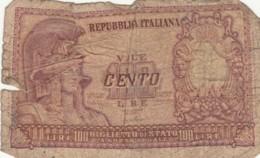 BIGLIETTO DI STATO  ITALIA 100 LIRE -  F (BN111 - [ 2] 1946-… : Républic