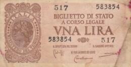 BIGLIETTO DI STATO  ITALIA 1 LIRA - F (BN113 - Italia – 1 Lira