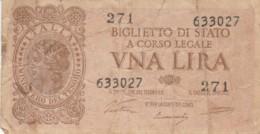 BIGLIETTO DI STATO  ITALIA 1 LIRA - F (BN114 - [ 1] …-1946: Königreich