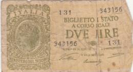 BIGLIETTO DI STATO  ITALIA 2 LIRE -  F (BN115 - [ 1] …-1946 : Royaume