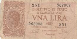 BIGLIETTO DI STATO  ITALIA 1 LIRA - F (BN116 - [ 1] …-1946: Königreich