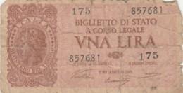 BIGLIETTO DI STATO  ITALIA 1 LIRA - F (BN117 - [ 1] …-1946: Königreich
