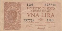 BIGLIETTO DI STATO  ITALIA 1 LIRA - F (BN118 - Italia – 1 Lira