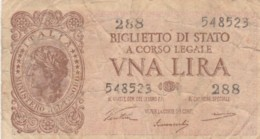 BIGLIETTO DI STATO  ITALIA 1 LIRA - F (BN119 - [ 1] …-1946: Königreich