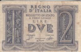 BIGLIETTO DI STATO  ITALIA 2 LIRE -  F (BN121 - [ 1] …-1946 : Regno