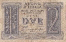 BIGLIETTO DI STATO  ITALIA 2 LIRE -  F (BN122 - [ 1] …-1946 : Regno