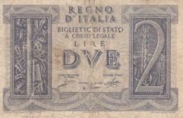 BIGLIETTO DI STATO  ITALIA 2 LIRE -  F (BN123 - [ 1] …-1946: Königreich