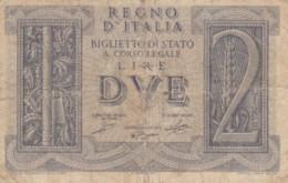 BIGLIETTO DI STATO  ITALIA 2 LIRE -  F (BN125 - [ 1] …-1946: Königreich