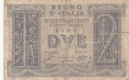 BIGLIETTO DI STATO  ITALIA 2 LIRE -  F (BN126 - [ 1] …-1946: Königreich