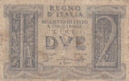 BIGLIETTO DI STATO  ITALIA 2 LIRE -  F (BN127 - [ 1] …-1946: Königreich