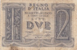 BIGLIETTO DI STATO  ITALIA 2 LIRE -  F (BN128 - [ 1] …-1946: Königreich