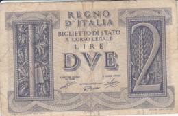 BIGLIETTO DI STATO  ITALIA 2 LIRE -  F (BN129 - [ 1] …-1946: Königreich