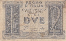 BIGLIETTO DI STATO  ITALIA 2 LIRE -  F (BN130 - [ 1] …-1946: Königreich